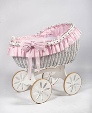 MJ Mark Bianca Due - Pink - Spoke Wheels - Wicker Crib