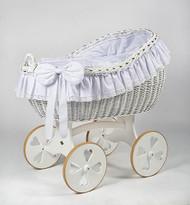 MJ Mark Bianca Due - Antique White - Heart Wheels - Wicker Crib