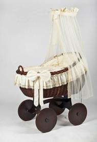 MJ Mark Bianca Tre - Antique Cream - Solid Wheels - Wicker Crib