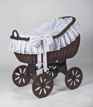 MJ Mark Bianca Tre - Antique White - Spoke Wheels - Wicker Crib