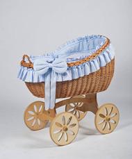 MJ Mark Bianca Uno - Blue - Spoke Wheels - Wicker Crib