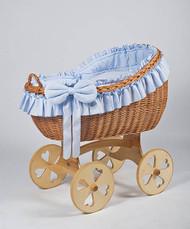 MJ Mark Bianca Uno - Blue - Heart Wheels - Wicker Crib