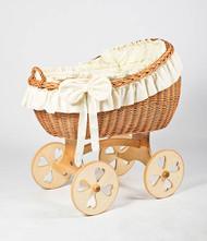 MJ Mark Bianca Uno - Ivory - Heart Wheels - Wicker Crib