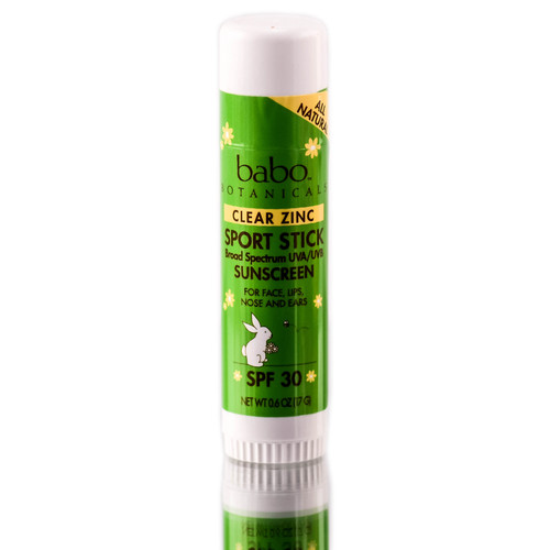Babo Botanicals Clear Zinc Sport Stick SPF 30 for sun & wind protection