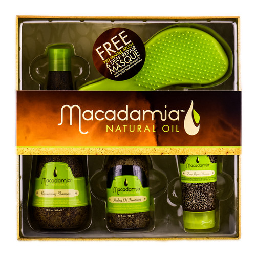 Macadamia Natural Oil 4 Piece Into Kit With No Tangle Brush