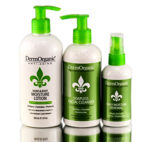 DermOrganic Anti-Aging Skin Care 3 Pieces With Bag