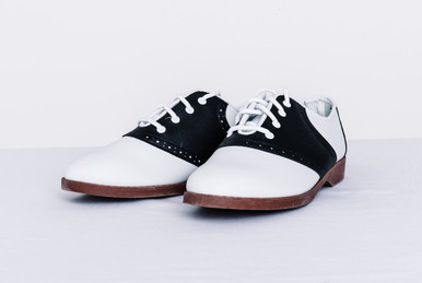 "These traditional adult saddle shoes are perfect for many occasions. We sell them for group events such as parades, bands, sport teams, cheerleader squads, dance groups, doing ""Grease"" as a play or drama, club members, etc."