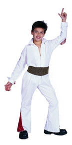 Elvis Style Rock Star White Jumpsuit Costume for Kids