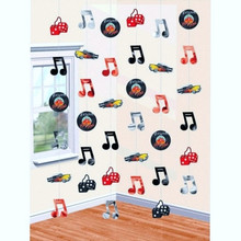 50s Party Theme 6 Strings of Metallic Icons 7' Long