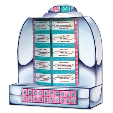 """able Top Jukebox 50s Style Retro 3D Party Decoration or Centerpiece. If you know the least about the 1950s, you surely know that you would find a table top jukebox on every table & several on the counter of your local diner or drug store. You could drop in a dime and hear one of your favorite 50s tunes. Most of the time a quarter would get you 3 plays. That's right, they were playing your song! This cardboard replica of those very popular table models of a jukebox are a must for any 50s Party Theme.  Create the look or enhance the look. Have one on every table. Great conversation starter! Of course, it is a decoration and won't play tunes for you, but it has a list of """"funny"""" titles that will get the party going with some fun. 13"""" High x 8"""" Wide and in just a couple of minutes you fold it into a 3D centerpiece or party decoration.   Having a 50s theme party or just wanting a unique, inexpensive fun 3D decoration, you will want several of these. Great for Birthday, Anniversary, Teen party, sock hop, creating a diner look, and on and on. Be creative!  You can get the look and feel of a diner in any room of your house with the scene setters and various party items we have on our website. Take some time with us and enjoy your trip """"Back to the 50s""""."""