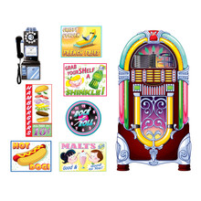 Soda Shop Signs & Jukebox Props Insta Theme Wall  Deco