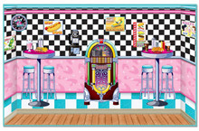 50's party theme. Soda Shop Insta-Theme to set the scene for your very own soda shop wherever, you may choose. 1950s retro color schemes were alive with pink and turquoise cars, decor, clothes, and more. This soda shop setting is no exception. You will like these easy-to-hang plastic sheets, that turn the wall or walls of any room into a soda shop themed party room in an instant.  Includes 5 pieces of wall hanging favorites. Create the entire 30 feet x 8 feet wall to look like a soda shop right in your own room.  $52.99 a set of 5 Pieces
