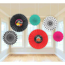 50s Rock and Roll 6 Piece Paper Fan Party Decoration