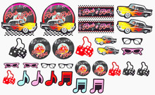 50s Party Theme 30 Piece Cut Out Decoration Set