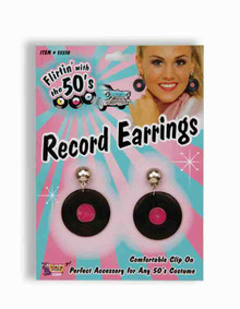Clip on earrings shaped like 45 RPM records from the 1950s. They actually look like a miniature version of a 45 RPM record. So cute!! They are lightweight plastic and fun to wear!! Great for a 50's theme party or any event where you just want to have fun. Everyone will want to know where you found these unique earrings.