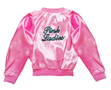 Shown here is the back of the Pink Ladies Satin Jacket featuring sleeves long enough to create the puffy satin look of the 1950's. . The quality of the embroidered letters is excellent. The flamingo pink color of the jacket itself is just gorgeous! This is a great jacket at a great price. $24.99