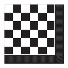 Black & White Checked Party Napkins are 16 pieces per package. 2-Ply.. In the 1950's black & white checks were everywhere, floors, tabletops, counter tops, everywhere. These napkins are a great addition to our line of black & white 50's party decorations. We have the table covers, the plates, the napkins, the wall hangings, and many, many party decorations that feature the black & white check theme.