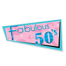 "Fab 50's Wall Hanging is shaped somewhat like a pennant, just has a 3 sided design that is a unique display of of pink and turquoise so appropriate for the 1950's. This fabulous 50's party theme banner is great for birthday parties, sock hops, teen dance theme, 50's party theme, anniversaries, etc. This lightweight poster banner measures 30 1/2"" x 16"" x about 8"" therefore adds a presence to your party theme atmosphere. Very reasonably priced for a banner this size so you may want more than one if you have a large area to decorate."