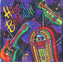 Happy Birthday Jukebox Luncheon Paper Party Napkins