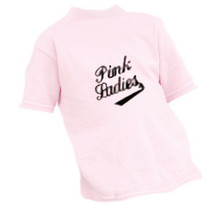 "Pink Ladies Tee Shirts in Adult Sizes. The sizes available AT this price point are: Small, Medium, Large, and XL  60% OFF These fun tee shirts are a 50/50 Poly/Cotton Blend that are machine washable. For best results use cold to warm water and turn the tee inside out when washing and drying. Cool to warm dryer, not hot.   These ""fun to wear"" tees feature ""Pink Ladies"" silk screen print on the FRONT. These Pink Ladies Tee Shirts WERE: $12.99 NOW: Adult Small, Medium, Large & XL****NOW $4.99"