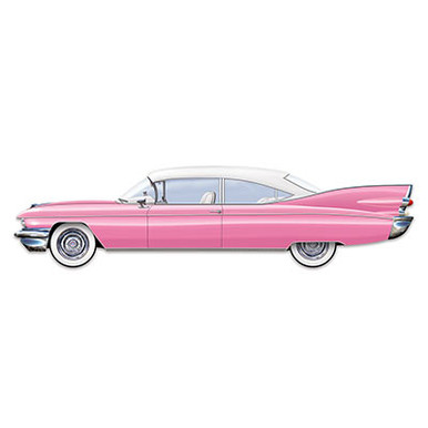 "Jointed Pink 50's Cruisin' Car 6 Feet Long Wall Hanging. It resembles a 1955 Pink Cadillac but it is a look-alike. A Good way to add the 1950's atmosphere and it is a full 6 Feet Long and 17"" High so it makes a great presence in a room or party area. Use it for birthdays, 50's party, to decorate a kid's bedroom, sock hop, 50's day at school, a program or play prop. Great item!!"