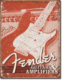 Fender Weathered G&A Tin Sign