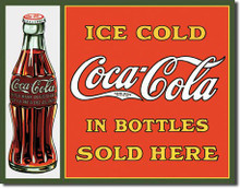 COKE Sold Here in Bottles Tin Sign