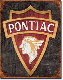 1930 Pontiac Logo Tin Sign