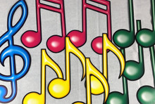 12 Large Colored Musical Notes