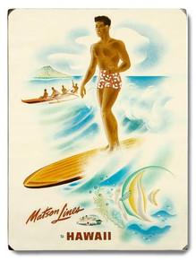 Matson Lines Surfer Wooden Sign