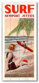 Surf Newport Jetties Wooden Sign