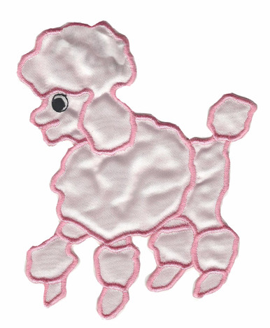 """5 1/2"""" High Pink Satin Poodle Applique'. Can be an iron-on or a sew-on whichever you prefer. Includes iron-on instructions. Add to a white blouse and have your own poodle blouse or shirt. We also carry one in the 8"""" High. Slight variation in color but could be used on the poodle skirt to match this one on the shirt. Not a drastic difference."""