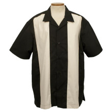 Striped Khaki and Black Bowling Shirt