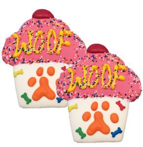 Woof Cupcake Dog Cookies   Pink
