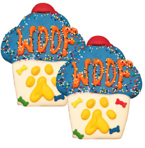 Woof Cupcake Dog Cookies   Blue