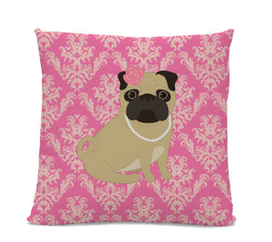 Pug in Pearls Pillow