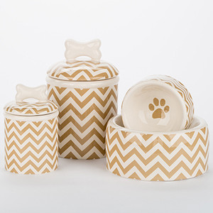 Chevron Bowl + Treat Jar Set