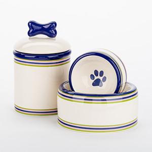 Stripes Bowl + Treat Jar Set