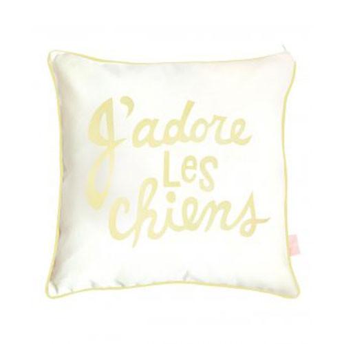 J'adore Les Chien Pillow Sham   Yellow