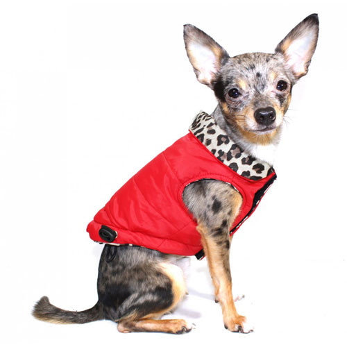 Reversible Red/Leopard Puffer Dog Coat