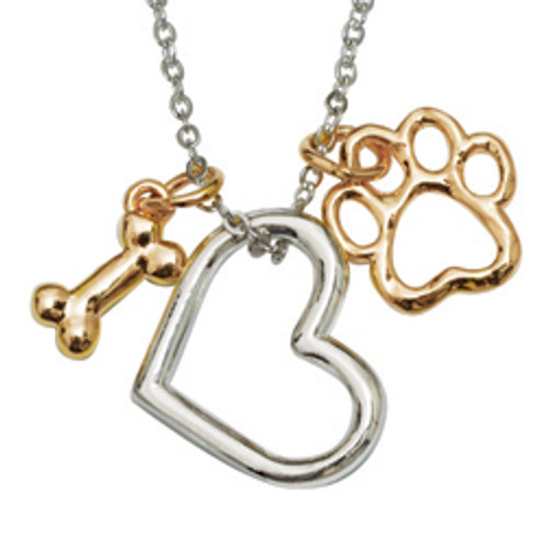 Heart & Paw Dog Charm Necklace
