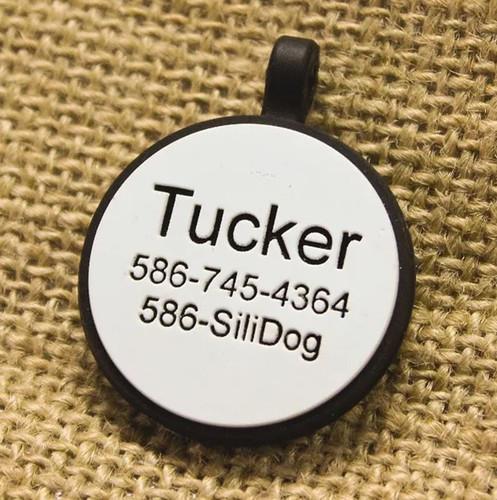 Silent Dog ID Tag   Circle White