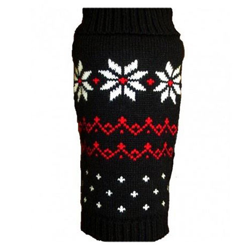 Fair Isle Snowflake Dog Sweater | Black