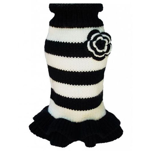 Black & White Striped Dog Sweater Dress