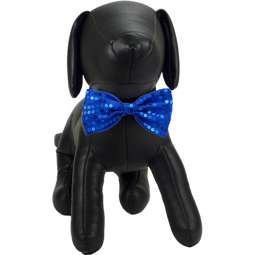 Blue Sequin Dog Bow Tie   Joey