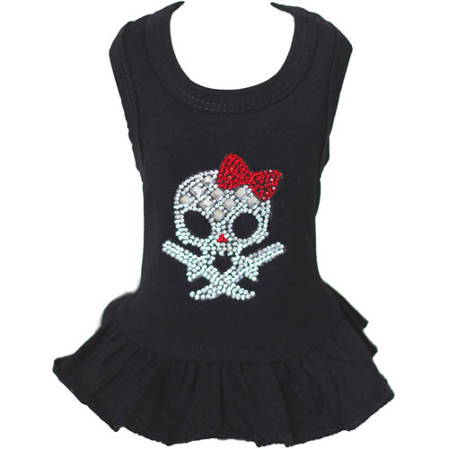 Skull & Red Bow Dog Tank Dress