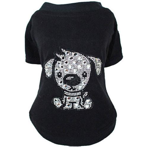 Doggy Love Rhinestone T-Shirt | Black