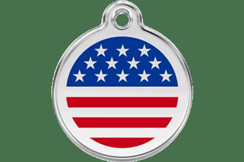 Enamel Dog ID Tag   American Flag