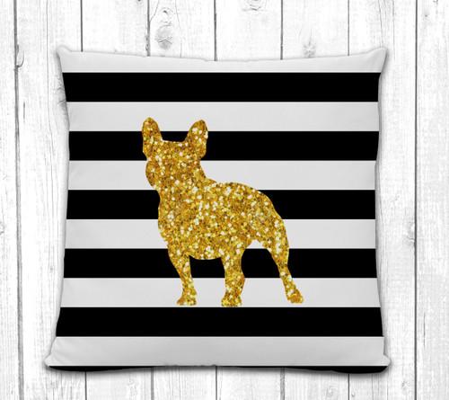 French Bulldog Striped Pillow