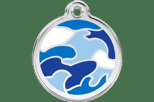 Enamel Dog ID Tag   Camo Blue